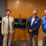 Drs. Pollastri, Ivanov, Carberry, and Karger (left to right) celebrating the Technology Alliance Partnership between Thermo Fisher Scientific and Northeastern University